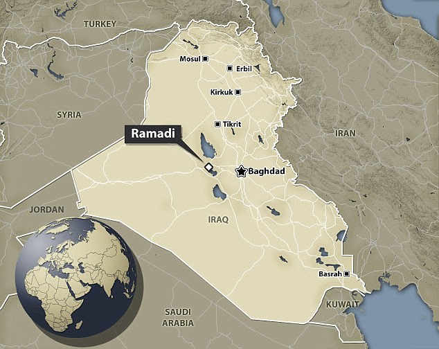 Edging closer: The loss of the capital of Iraq's largest province (shown on map) marks one of Baghdad's worst setbacks since it began a nationwide offensive last year to reclaim territory lost to ISIS