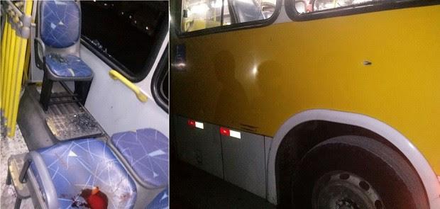 Janelas do ônibus foram estilhaçadas pelos tiros (Foto: Divulgação/Polícia Militar)
