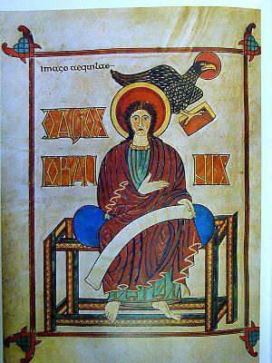 Folio 209v of the Lindisfarne Gospels showing ...