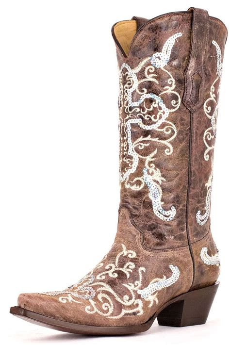 corral boots silver sequins cross womens cowgirl boots