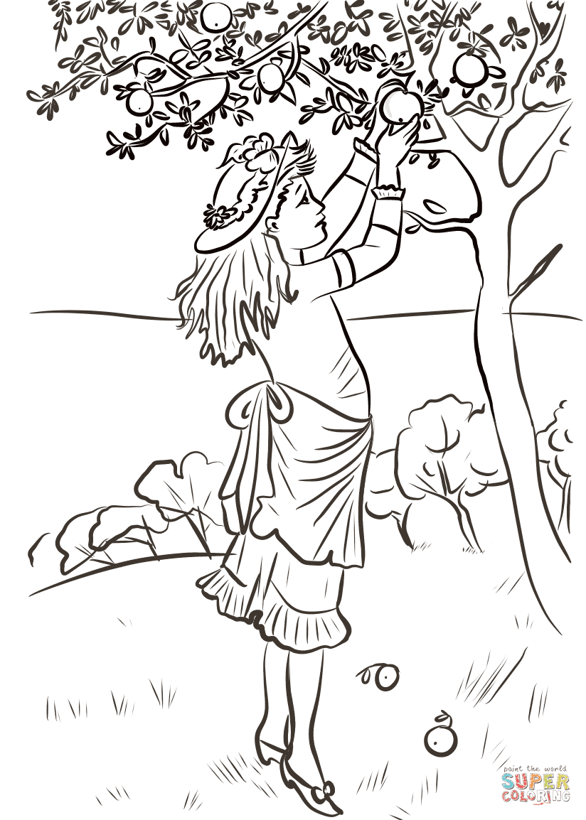 Girl Picking Apples coloring page | Free Printable ...