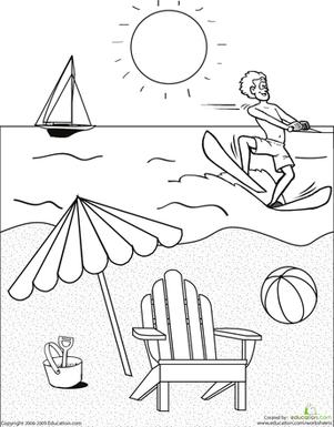 Color the Beach Scene | Worksheet | Education.com