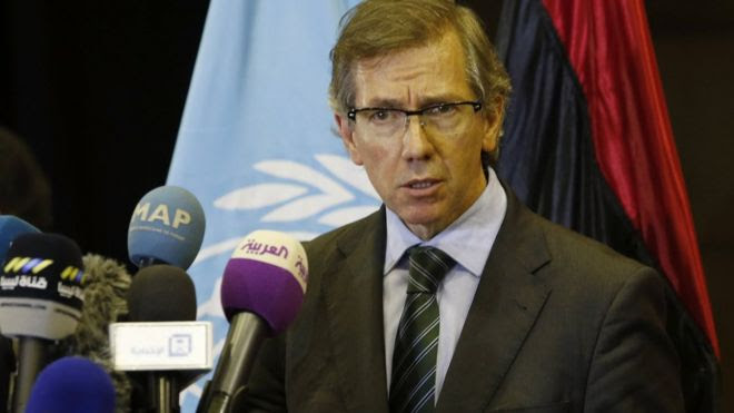 UN envoy Bernardino Leon makes an announcement in Skhirat, Morocco