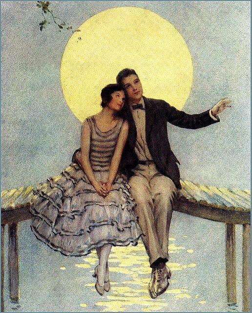 vintage moon art