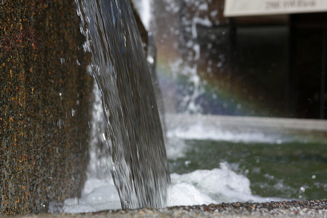 fountain + rainbow