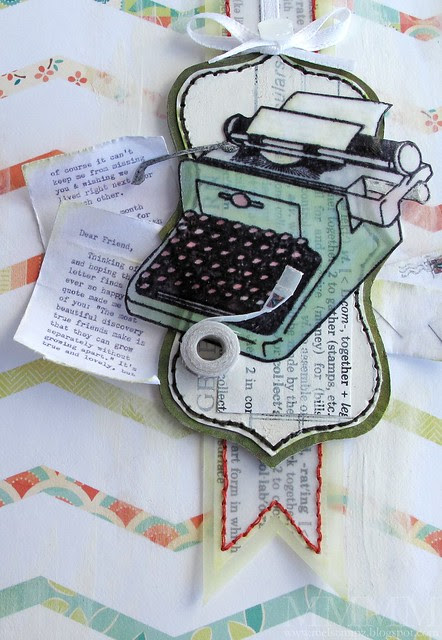 Hero Arts typewriter stamp embossed on vellum cardstock