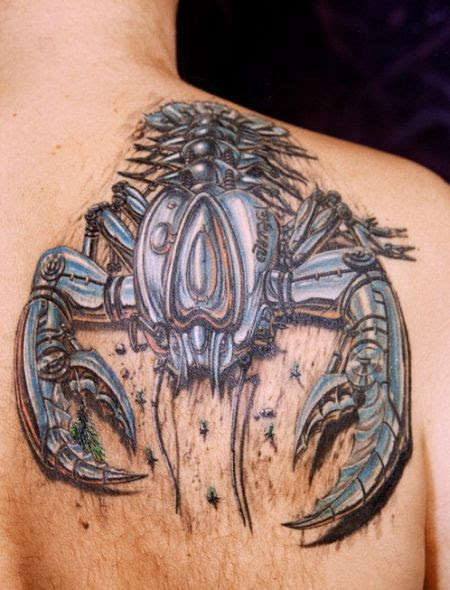 Nice Robotic 3d Scorpion Tattoo On Back Shoulder Tattoomagz