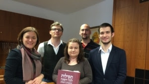Abraham Geiger College students Natalya Verzhebovska (left to right), Max Feldhake, Anita Kantor, Amnon Selig, and Maciej Kirschenbaum
