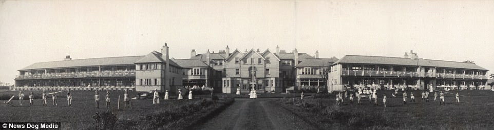 An Open-air Tuberculosis ward in Leasowe, the Wirral, UK, is captured in panoramic view circa 1900s