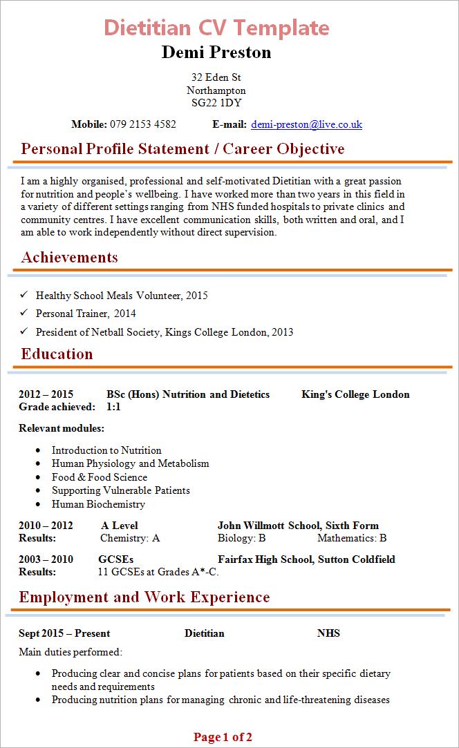 Dietitian CV Template 1