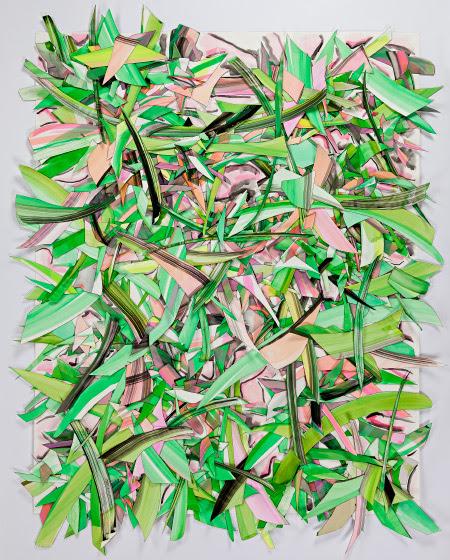 © 2017 Selena Beaudry.  Tous les droits sont réservés.  - Scintillant avec Green, 75in x 62.5in encadrée - Couper le papier, Gouache, Acrylique et marqueur sur papier, 2015