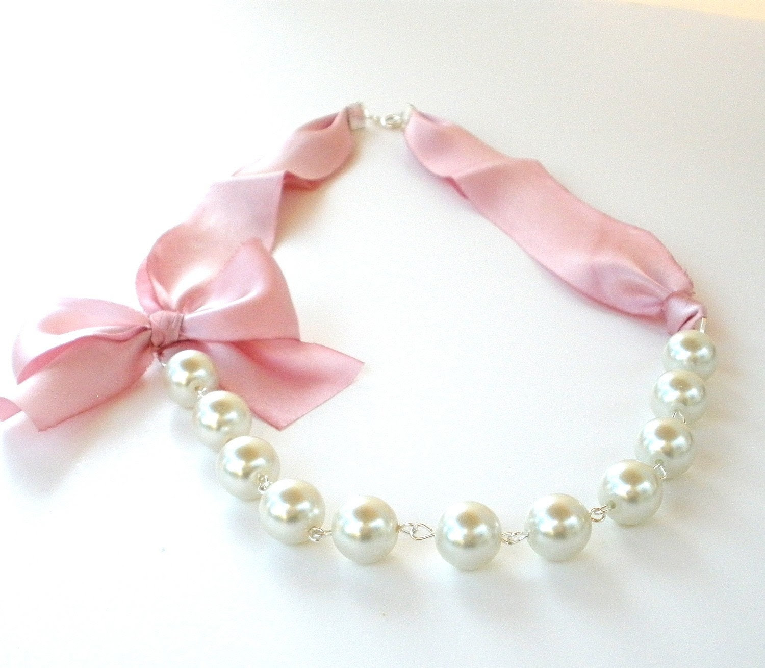 Pearl necklace in  ivory white and pink  silk bow - bridal party - bridesmaids jewelry