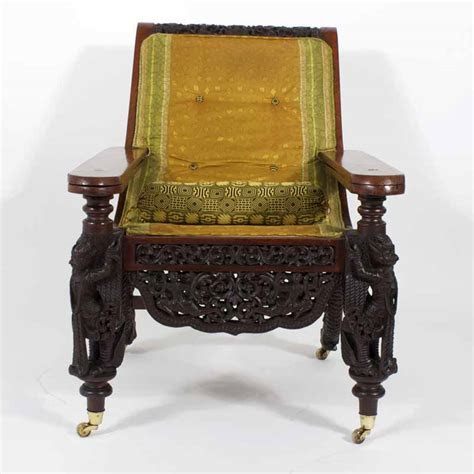 anglo indian carved plantation  planters chair