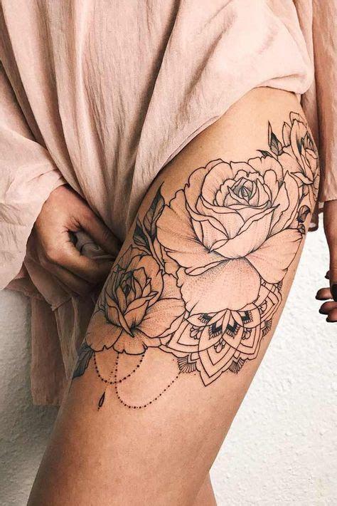 rose tattoo thigh tattoo designs women