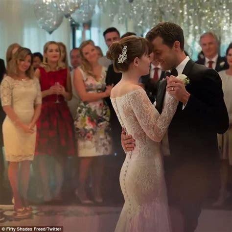 Dakota Johnson and Jamie Dornan dance at their wedding