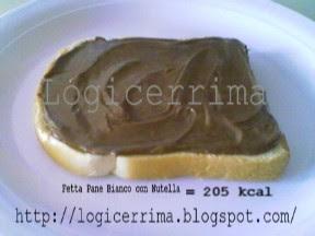 [ Pane Bianco con Nutella = 205 Kcal ]