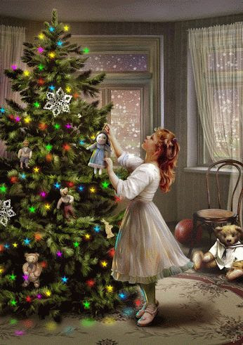 Little Girl decorates the tree gifs gif little girl tree decorations holidays christmas gifs decor ideas holiday spirits