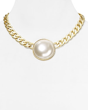 AQUA Golda Single Faux-Pearl Chain Necklace