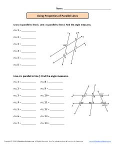 Using Parallel Lines and Transversals Worksheet Using Properties