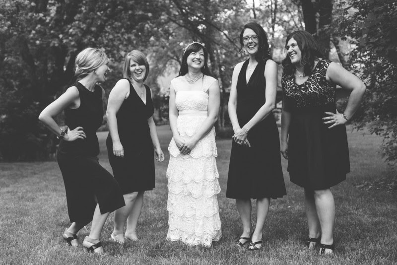Bridal Party Photos following a summer garden ceremony in Rockord, IL by Mindy Joy Photography