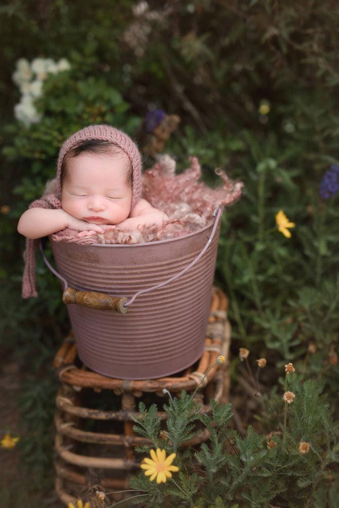 New Farmhouse Pail Distressed Metal Bucket Newborn Photo Prop