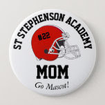 Parent Pride Senior Night Football Red Helmet Pinback Button