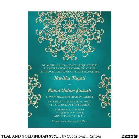TEAL AND GOLD INDIAN STYLE WEDDING INVITATION   Zazzle.com