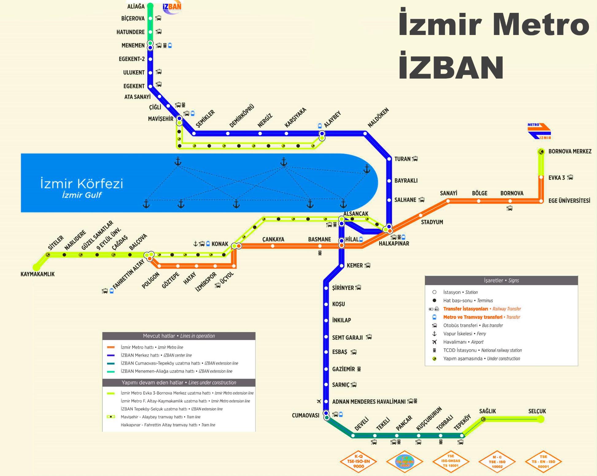izmir izban metro map