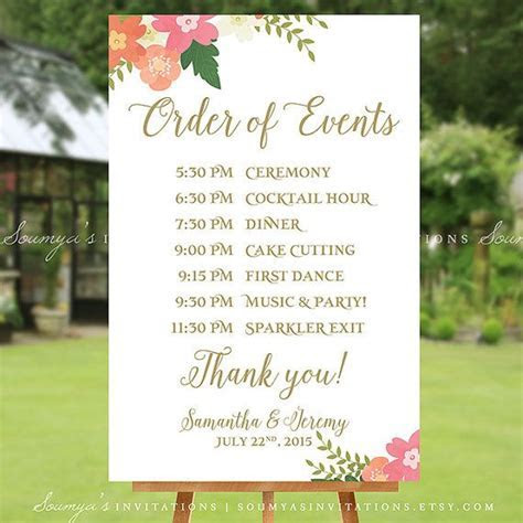 PRINTABLE Wedding Schedule Sign Wedding by