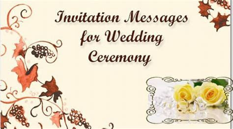Invitation Messages for Wedding Ceremony