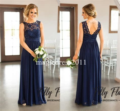 2017 Navy Blue Lace Bridesmaid Dresses for Country Wedding