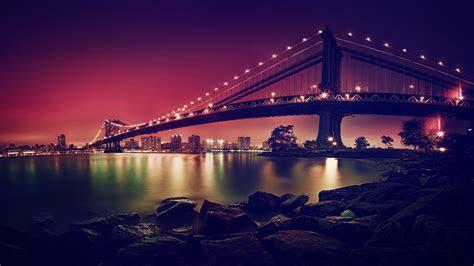 wallpaper manhattan bridge suspension bridge  york city  world  wallpaper