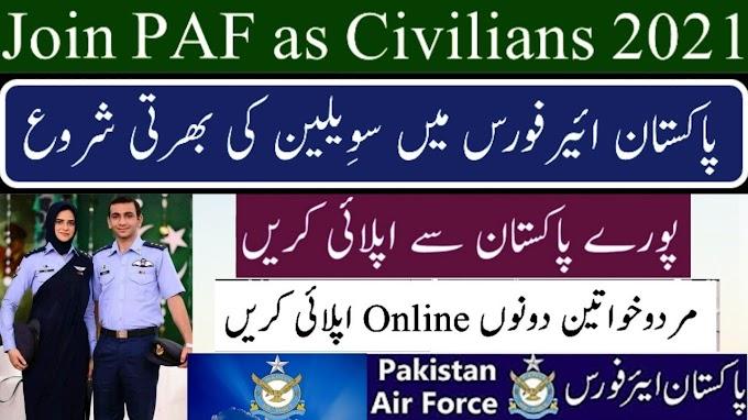 Pakistan Air Force Jobs for Civilians 2021-Joinpaf.gov.pk