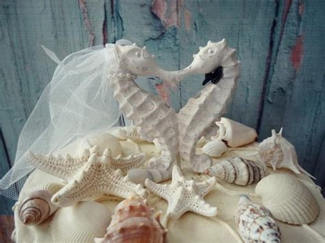 Seahorse Wedding Cake Topper white ivory bride Groom