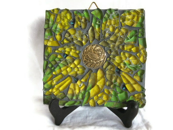 Yellow flower wall art - Mixed Media Mosaic