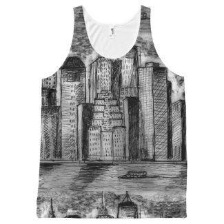 Gritty City Skyline on Unisex Tank Top All-Over Print Tank Top