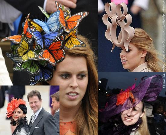 Clockwise from upper left: 'Fluttering in: Princess Beatrice in a spectacular hat' (MailOnline); 'Princess Beatrice and her hat for the royal wedding' (Ministry of Gossip/L. A. Times); 'April 29: Christine Peckham from London wears a fancy hat along the Royal Wedding route in London on Friday. (AP)'; 'Ministerial misstep: The wife of Deputy Prime Minister Nick Clegg may have gone a bit too theatrical with her attire at the royal wedding.' (SFUNZIPPED, SFGate, San Francisco Chronicle)