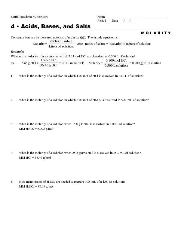 33 Acid Base Neutralization Reaction Worksheet   Worksheet ...
