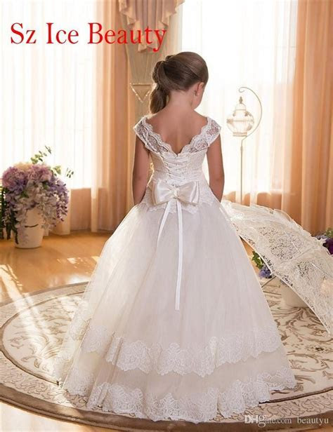 2017 White Floor Length Flower Girls Dress For Weddings