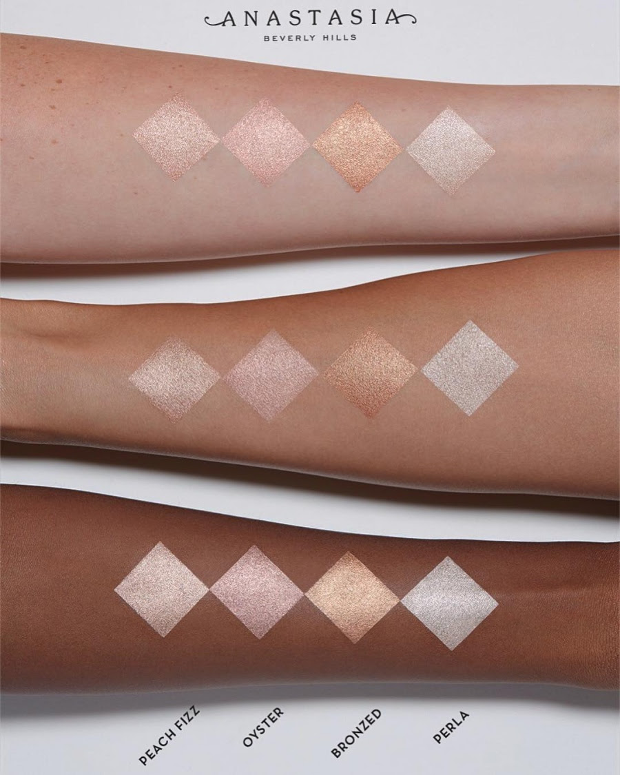 Anastasia Beverly Hills Liquid Glow Highlighter Swatches On different Skin Tones