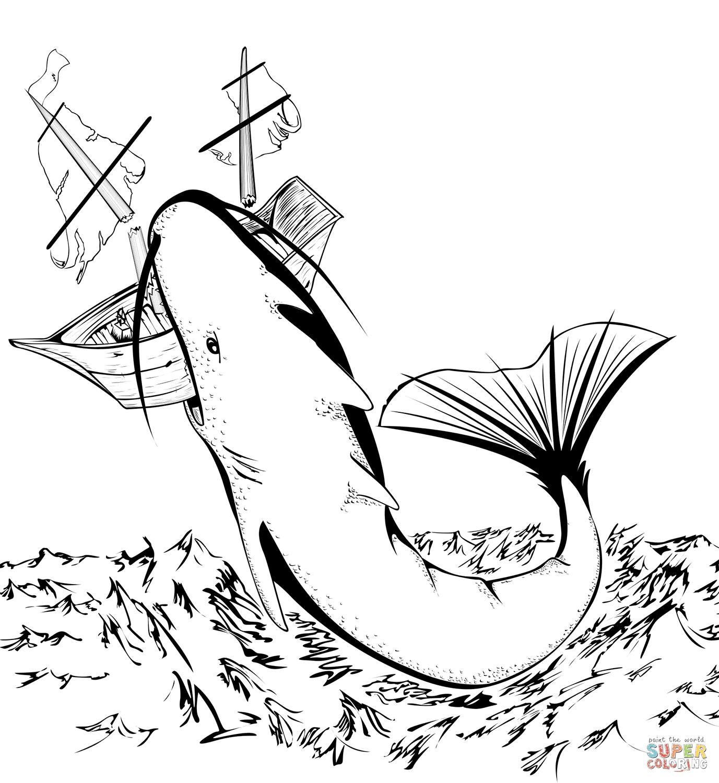 Megalodon Shark Attacks Ship coloring page | Free ...