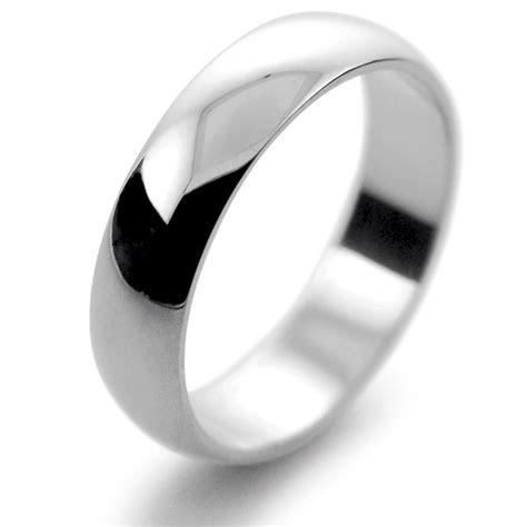 D Shaped Heavy Weight   5mm (PHD5) Platinum Wedding Ring