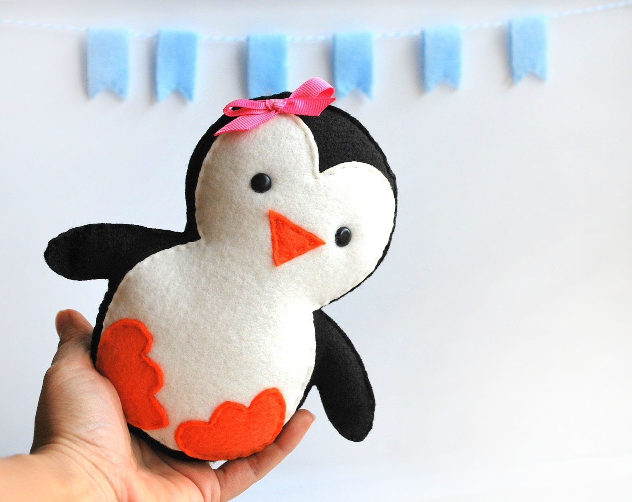 Baby Penguin Plush, adorable Fleece / felt baby plush, eco friendly children toy A315