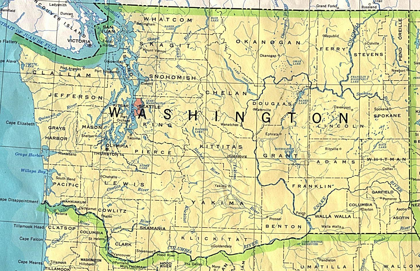 Washington State Map ~ Usa Map Guide 2016