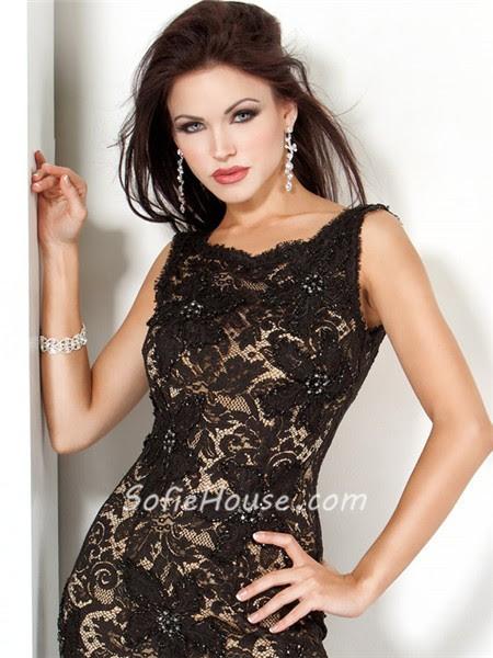 Elegant long black evening dresses