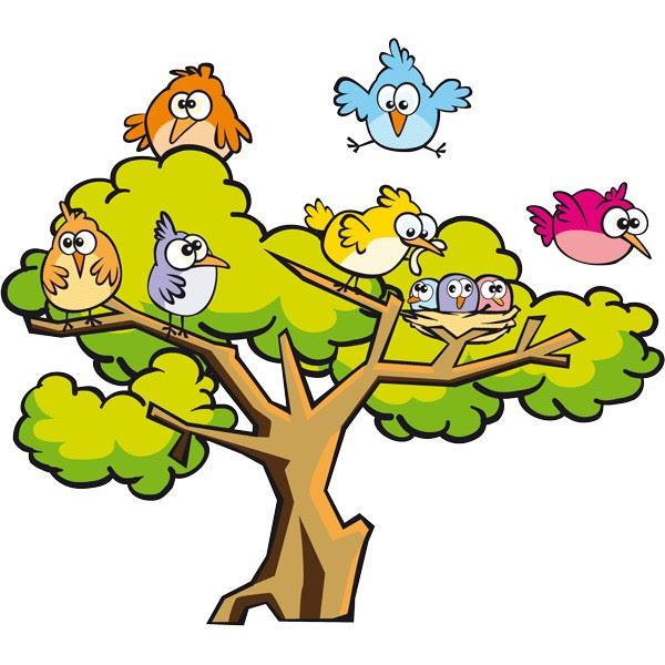 Vinilo Infantil árbol Con Pajaritos De Colores