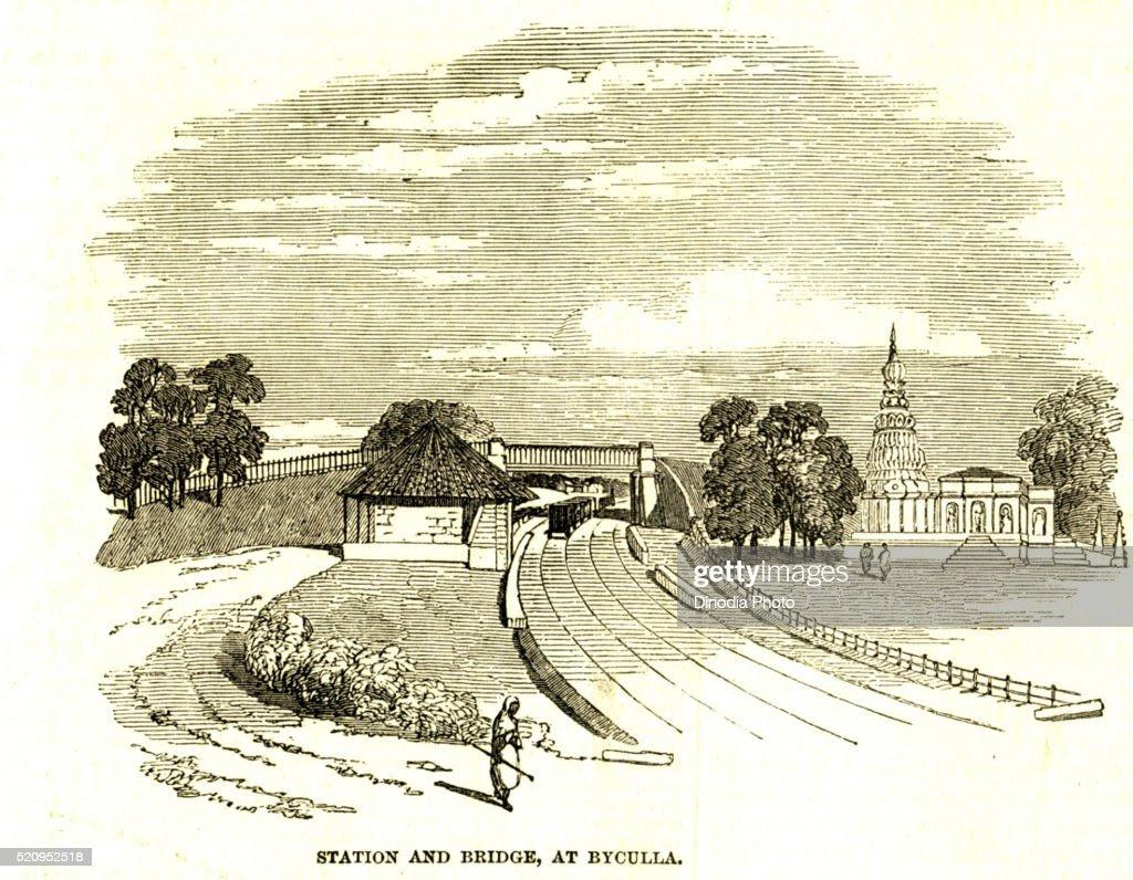 Station and bridge at Byculla, 4th June 1953, Bombay now Mumbai, Maharashtra, India : Stock Photo
