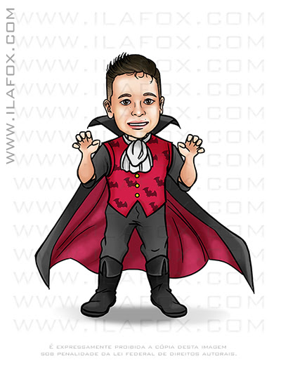 caricatura clássica, caricatura temática, caricatura vampiro, caricatura halloween, caricatura criança, caricatura infantil, ila fox