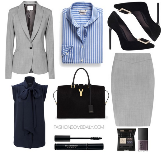 What to Wear to an Interview Reiss Tailored Jacket Reiss A-Line Skirt KG by Kurt Geiger Bryrony Buckle Court Shoe Saint Laurent Classic Large Y Cabas Bag