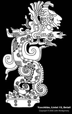 Detail of Yaxchilan Lintel 15, drawing by John Montgomery